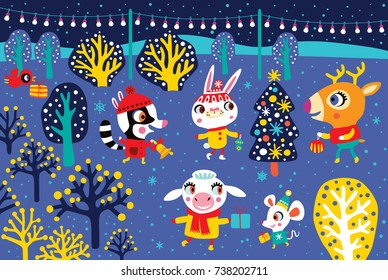 Christmas landscape with cute animals. Childish vector illustration. Winter outdoor activity. Fairytale night.
