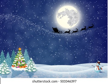 Christmas landscape at night. christmas tree and snowman. background with moon and the silhouette of Santa Claus flying on a sleigh. concept for greeting or postal card