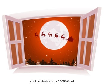 Christmas Landscape Outside The Window/ Illustration of a cartoon christmas holidays landscape outside an open window, with santa character and reindeer flying in sleigh