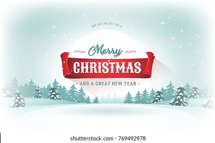 Christmas Landscape Postcard/ Illustration of a design christmas winter snowy landscape background, with firs, snow and red banner for winter and new year holidays
