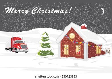 Christmas landscape. Postcard. Vector