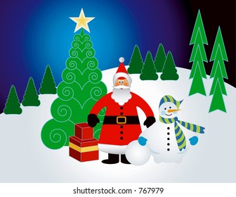 Christmas Landscape with santa and snowman