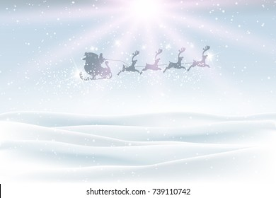 Christmas landscape with snow and santa flying in the sky