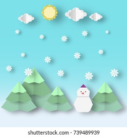 Christmas landscape with snowman and firs clipart in the style of origami paper reveal this image is a vector illustration