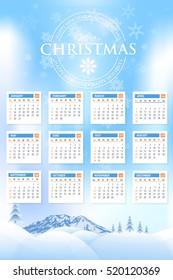 Christmas Landscape, Winter Background, Hills, Mountain and Snow Illustration 2017 Full Calendar Template, Promotion Poster Vector Design - Week Starts Sunday