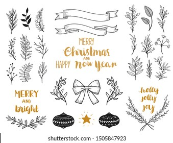 christmas leafs laurel labels hand draw vector