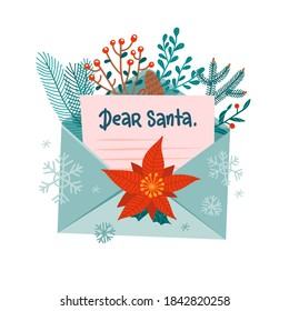 Christmas letter to Santa Claus in open envelope. Festive xmas mail decorated with forest branches. Greeting card with lettering Dear Santa. Vector flat cartoon illustration isolated on white.