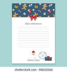 Christmas letter from Santa Claus template. Pattern with Gingerbread men and Mittens added in swatches.