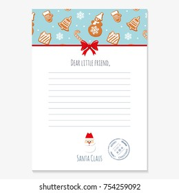 Christmas letter from Santa Claus template. layout in A4 size. Pattern with gingerbread cookies added in swatches.