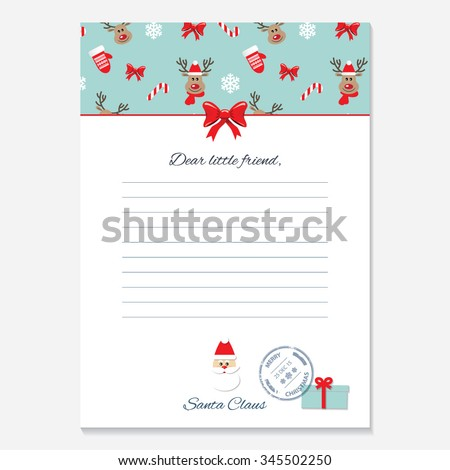 christmas letter from santa claus template pattern with deers added in swatches
