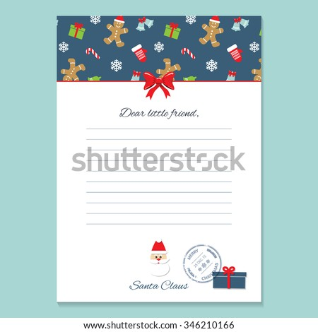 christmas letter santa claus template pattern stock vector royalty