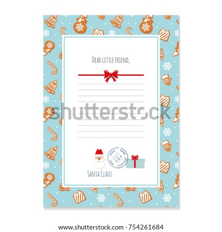 christmas letter from santa claus template layout in a4 size pattern with gingerbread cookies - Christmas Letter From Santa