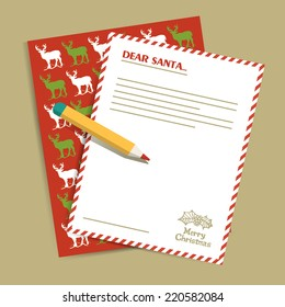 Christmas letter to Santa Claus. Vector illustration.
