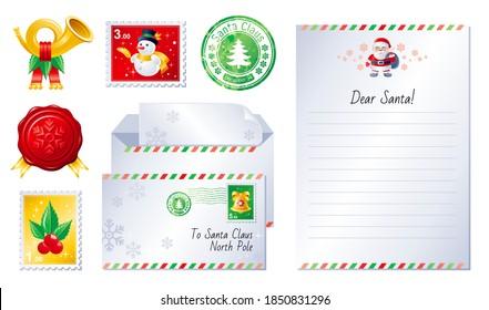 Christmas letter set. Santa wish list vector template, winter postcard, envelope, post horn, Gift paper, north pole stamp, Santa Claus card. Xmas mail background. Vintage holiday illustration.