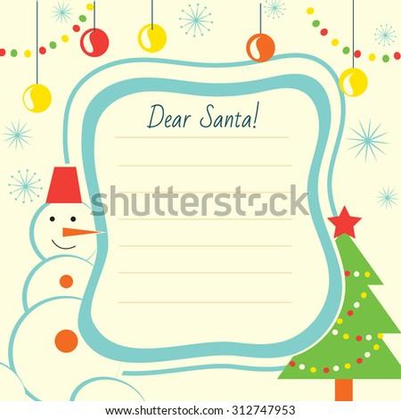 Christmas Letter Template Santa Claus Print Stock Vector (Royalty
