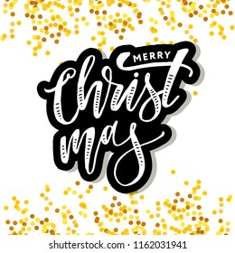 Christmas lettering Calligraphy Brush Text Holiday Vector Sticker illustration Gold