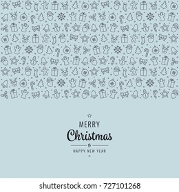 christmas lettering element icons blue background