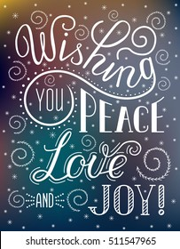 Christmas lettering inscription Wishing you peace, love and joy! Winter backdrop with stylized snow patterns on the glass. EPS 10 vector illustration Isolated on the gradient mesh background.