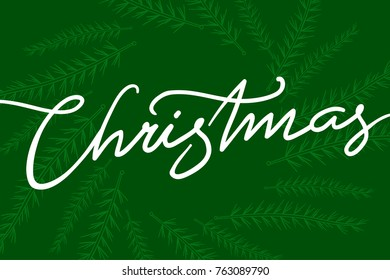 christmas lettering with leaf on green background
