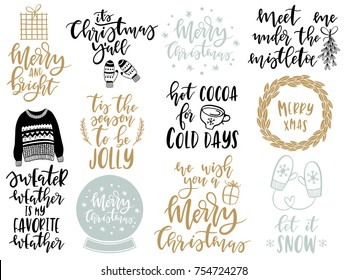 Christmas lettering scandinavian set with holiday Elements. Mittens, cocoa, wreath, mistletoe, gift box. Typographic design. Vector illustration.