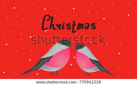 Christmas lettering. Two bullfinches on a red background. Postcard for the New Year.