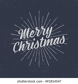 Christmas lettering, wishes and vintage labels. Season's greetings calligraphy. Holiday typography design. Vector texts. Letters composition with sun bursts and halftone texture. Vector design.