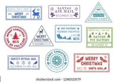 Christmas letters stamps, Santa Claus mail or post. Vector express delivery signs, postcards and holiday letter prints. Deer, gingerbread boy, Xmas tree, toy factory, sleigh and bullfinch, North Pole