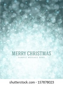 Christmas light background with snowflakes. Vector illustration Eps 10.
