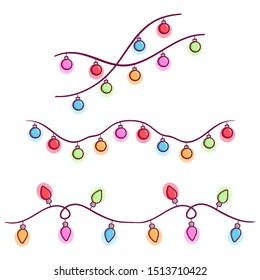 Christmas Light Bulb Garland for Decoration With Colorful Doodle Style