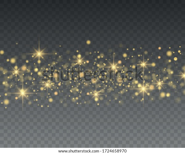 Christmas light effect.Glitter effect of particles. Vector sparkles on a transparent background Sparkling magical dust particles.The dust sparks and golden stars shine with special light.