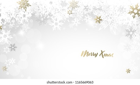 Christmas light greeting card background with golden and white snowflakes and Merry Christmas text - light version