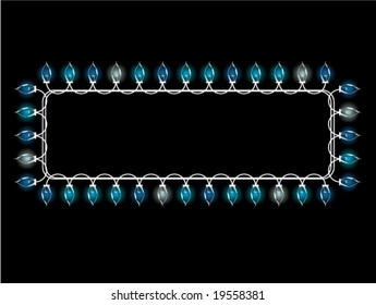 Christmas light rectangular frame - vector