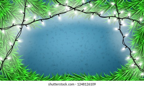 Christmas light and christmas tree branches background