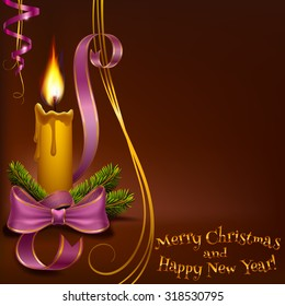 Christmas lighted candle and fir branches with ribbons to vector format