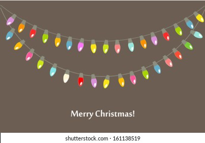 Christmas lights background. Vector illustration