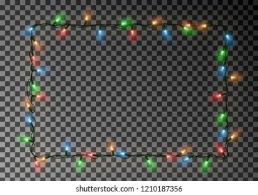 Christmas lights border vector, light string frame isolated on dark background with copy space. Transparent decorative garland. Xmas light border effect. Holiday decor element. Vector illustration.