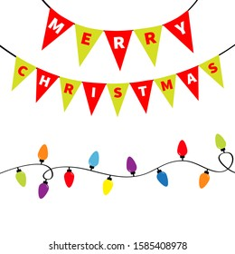 Christmas lights Bunting flags letters set. Holiday festive xmas decoration. Lightbulb glowing flag garland. Colorful string fairy light. Rainbow color. Flat design. White background. Isolated. Vector