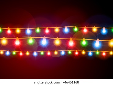 Christmas lights, colorful garlands, background.