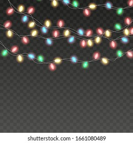 Christmas lights. Colorful Xmas garland. Vector red, yellow, blue and green glow light bulbs on wire strings isolated.