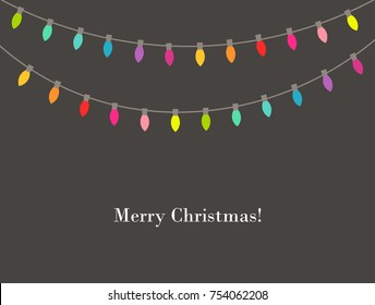 Christmas lights colors garland. Vector illustration
