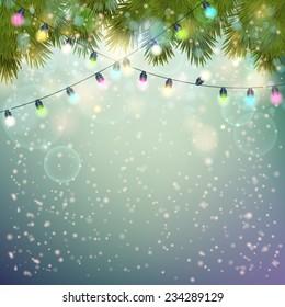 Christmas Lights  and fir twigs background . Vector illustration.