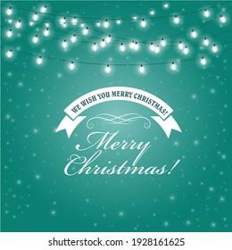 Christmas Lights frame - festive lights garlands greeting card, vector