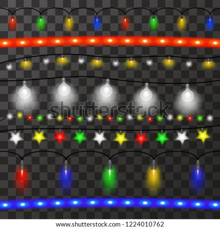 Christmas Lights Garland Over Transparent Background Stock Vector