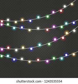 Christmas lights . Glowing lights for the Christmas holidays, banners, posters, web design. Garland decorations.