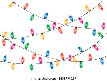 Christmas lights. Glowing lights for Xmas Holiday cards, banners, posters, web design. Christmas garland.