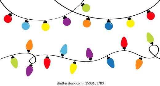 Christmas lights. Holiday festive xmas decoration. Colorful string fairy light set. Lightbulb glowing garland. Rainbow color. Flat design. White background. Isolated. Vector illustrtion