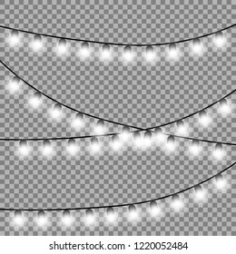 Christmas lights isolated design elements. Glowing lights for Xmas Holiday cards, banners, posters, web design. Vector illustration.