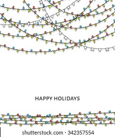 Christmas lights isolated design elements. Xmas glowing colorful lights. Garlands decorations