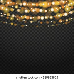 Christmas lights isolated design elements. Glowing lights for Xmas Holiday greeting card design.