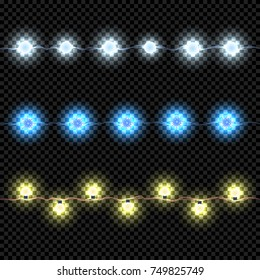 Christmas Lights Isolated on Dark Background. Garland Set for Xmas Design. Bright Led Lights. Vector Light Effect.